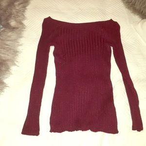 marroon red glitter off the shoulder long sleeve
